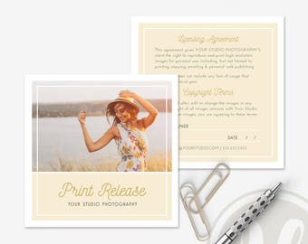 Photography Print Release Template - Photography Forms, Photo Release Form, Print Release Form, Instant Download, Photoshop Template