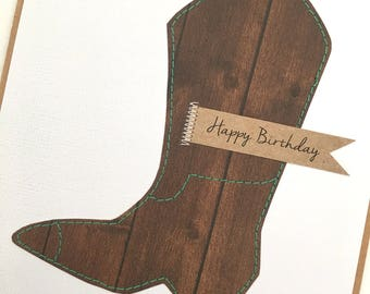 Cowboy boot country happy birthday card / cowgirl boots country happy birthday brown boot card