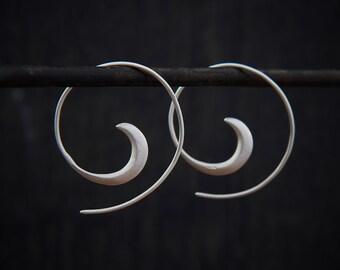 Silver Hoop Earrings, Brushed Silver Hoops, Swirl Hoops, Modern Earrings, Minimal Hoops, Simple Hoops, Everyday Earrings, Sterling Silver