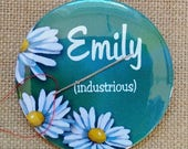 "Needle Minder, Personalized with NAME and Meaning of Name, Daisies, Original Art, Sewist, Seamstress Gift, 3"" OOAK Magnetic Needle Keeper"