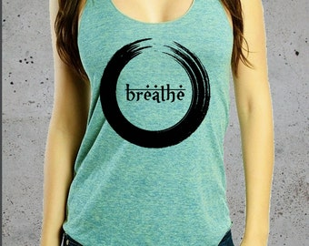 Yoga Shirt-BREATHE )Yoga Clothes,Yoga Tank Top,Womes Graphic Tees,Workout Tank,Gift For Her,American Apparel-Birthday Gifts
