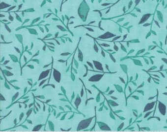 Hazelwood - Floral Leaves Aqua and Blue Fabric - One Canoe Two - Moda - by the half yard - 100% Cotton