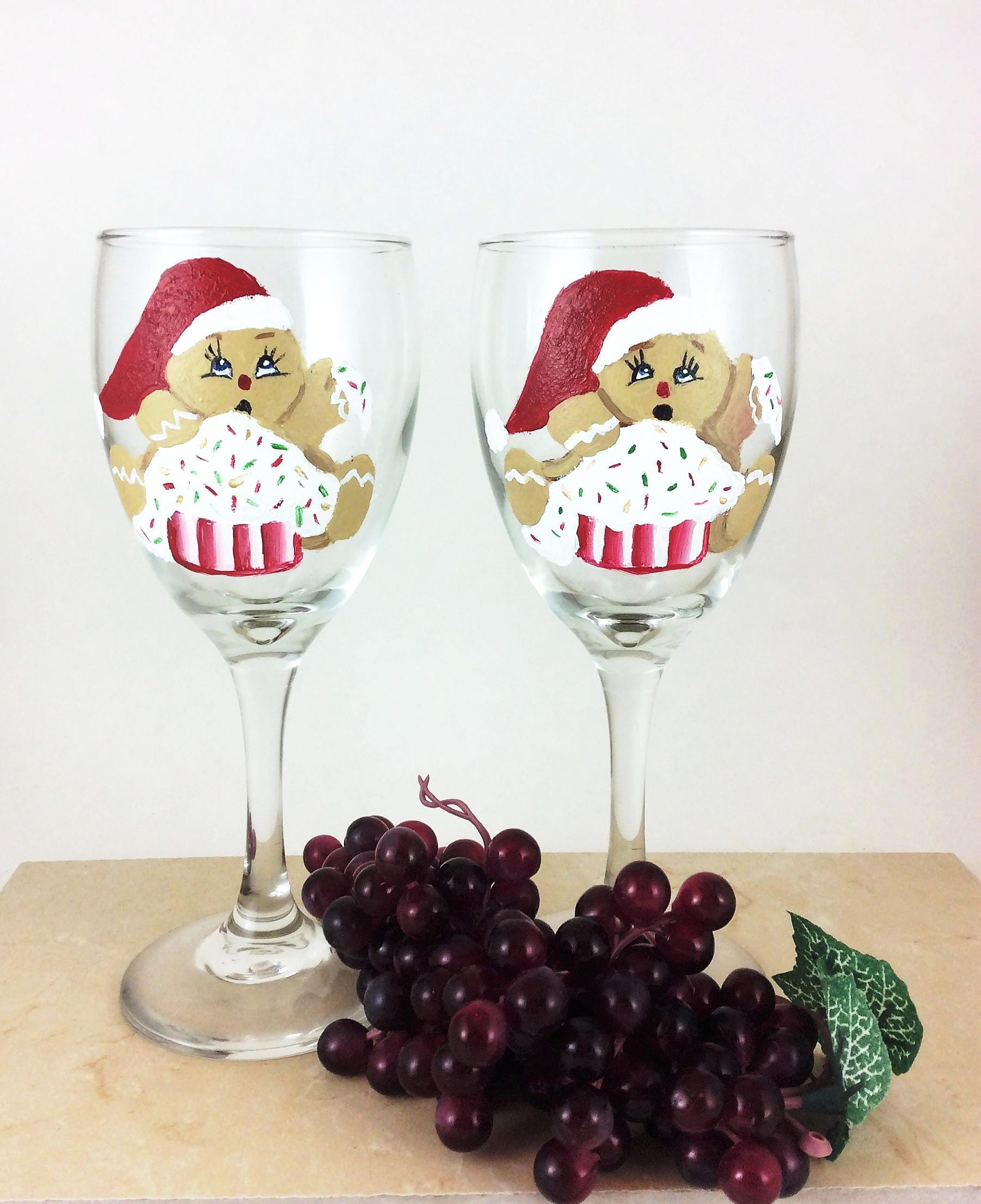 Christmas Decorations With Wine Glasses: Christmas Wine Glass, Holiday Wine Glasses, Painted Wine