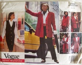 Vintage Vogue Sewing Pattern 2989, 1990s Separates, Jacket, Jumper, Vest, Skirt, Pants, Sizes 12-14-16