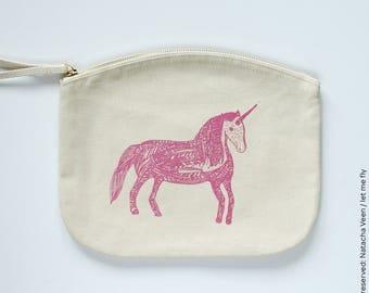 Unicorn, Kit, cover, illustration, organic cotton, silkscreen, art print, drawing, unicorn, organic, wallet, purse, gift