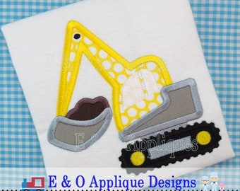 Digger Dirt Applique Design - Digger Applique Design - Construction Applique Design - Digger Embroidery Design - Backhoe Applique Design