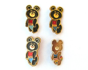 Misha, Olympic Bear, Pick your Badge, Sign of Olympic Games, Moscow 1980, Sport, Vintage metal collectible badge, Soviet Pin, USSR, 1980s