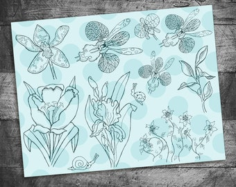 flower stamps, tulip stamps, Iris stamps, orchid stamps, snail stamps, bible journaling stamps, unmounted Rubber Stamps, Starving Artistamps