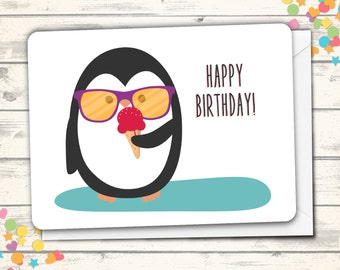 Happy Birthday Card, Penguin Card, Pun Card, Clever Card, Funny Birthday Card, Cute Birthday Card, Birthday Greeting Card, Cute Penguin