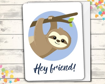 Sloth Thank you Card, Sloth Card, Cute Sloth Greeting, Friendship, Thanks, Thank you Note, Thank You, Appreciation Card