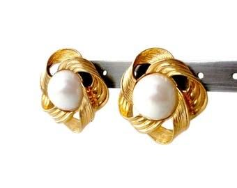Gold Knot Earrings With White Pearl For Pierced Ears by Avon - 1.25 inches, Faux Pearl Earrings, Gold Tone Earrings, Avon Earrings