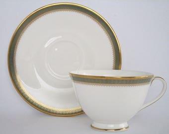Set of 4, Royal Doulton England  Clarendon Bone China Tea cup and Saucer Set, Vintage Discontinued China Tableware