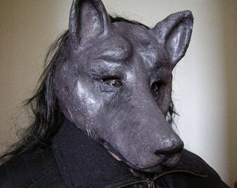 Masquerade mask Black wolf mask Paper mache mask Black dog Wolf costume Wolf head Animal mask Scary mask