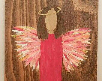 Earth Angel my Guardian Dear, hand painted Angels, Personalised Guardian Angel, Memorial, pink short brown hair