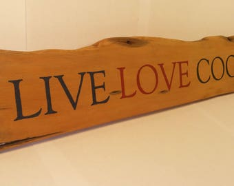 Live Love Cook Wooden Sign