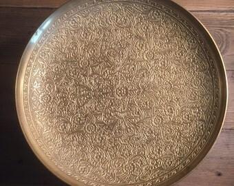 Vintage Brass Etched Bowl
