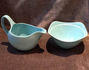 Midwinter stylecraft staffordshire 12-61  11-63 milk creamer and sugar bowl teal turquoise