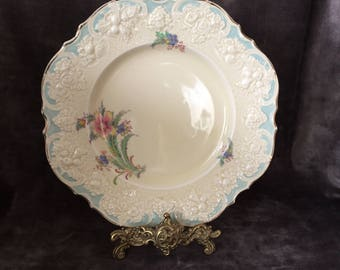 Vintage Crown Ducal salad or dessert plate with teal turquiose textured raised edge
