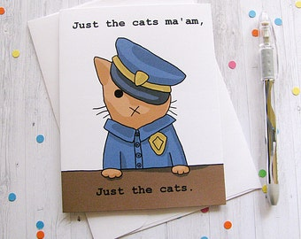 Cute Cat Card Any Occasion Card Cute Greeting Card Police Kitten Cat Funny Card Police Officer Cop Career Cat New Job Card Cat Lover Card