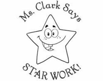 Teacher's Star Work Custom Stamp - SC49