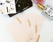 Blush Pink and Rose Gold Minimalist Dividers in Pocket, Personal, A5 of Half Letter