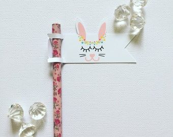 Sleepy bunny pencil/straw flags