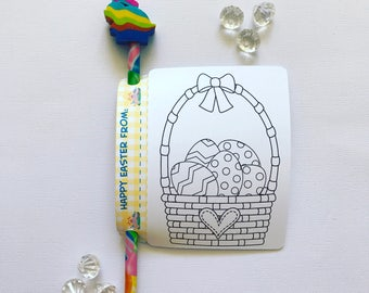 Easter colouring card and pencil holder
