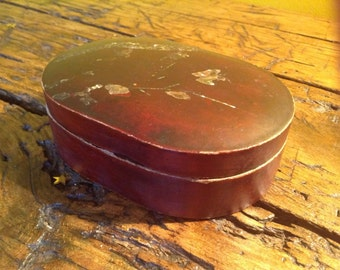 Sweet vintage oriental style red storage box with mother of pearl elements.
