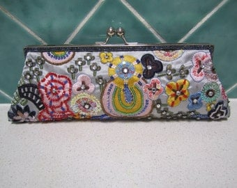 Vintage Silver and Multicoloured Beaded  and Embroidered Evening Bag/Clutch
