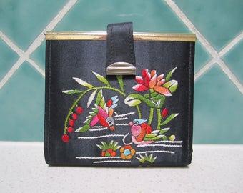 Vintage Wallet - Black Satin - Embroidered - Purse
