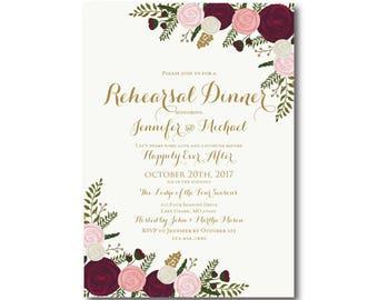 Vintage Rehearsal Dinner Invitation, Fall Wedding, Vintage Floral, Floral Wedding, Vintage Wedding, Rehearsal Dinner Invitation #CL157