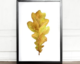 Oak leaf, autumn leaf, watercolor, Art Print, Giclee, botanical, Quercus, illustration, wall decor