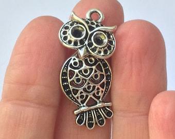 6 Owl Charms Antique Silver 3.4cm x 1.6cm - SC1020