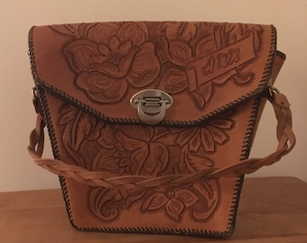 """Vintage Hand Tooled Leather Purse With The Name """"ANN"""" tooled in the leather"""