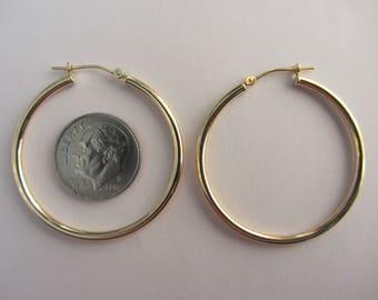 14k Gold 35mm Hoop Earrings New 'Old Stock' - 2mm - 1.26g