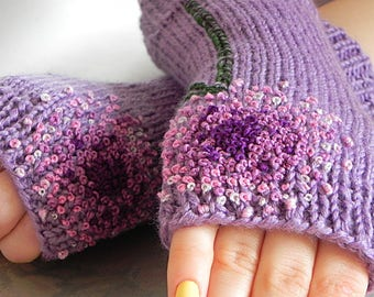 Purple Knit Gloves Wool Knitted Fingerless Fall Mittens Cable Knit Gloves Knit Fingerless Mits Women Knit Cozy Mits Elegant Hand Knit
