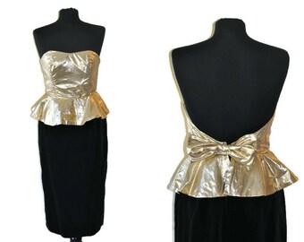 "Vintage Gold Lame Dress with Black Velvet Skirt // 80's backless dress // UK Size 8 // XS // Bust 32"" Waist 26"""