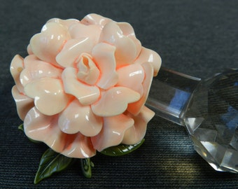 Vintage Plastic English Rose Peach/ Orange Brooch/ Pin - Large Flower