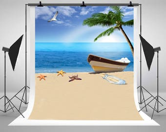 Beach Sea Vessels Photography Backdrops Newborn Baby No Wrinkles Photo Backgrounds for Children Summer Vacation Studio Props