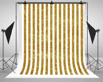 Kate Gold With White Stripe Photography Backdrops Newborn Baby Photo Backgrounds for Children Studio Props