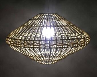 UFO Shaped Cane Pendant Lights-UFO Lamp-Decorative Lighting Fixtures-Cane Lamps-UFO Decoration-Rustic Pendant Lighting-Natural Style Lamps