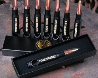 7 Personalized Groomsmen Gifts - Custom Engraved 50 Caliber® Bullet Bottle Openers. Groomsman Gift. Wedding Party Gift. FREE SHIPPING.