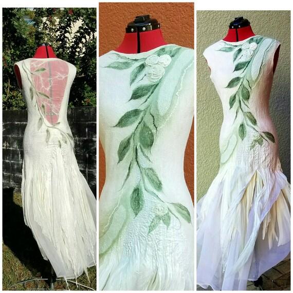 Woodland fairy dress nuno felted alternative wedding gown for Woodland fairy wedding dress