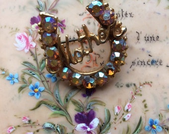 Vintage Rhinestone Horseshoe MOTHER Brooch