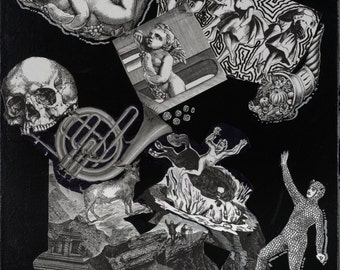 Black and White Print of Death Themed Collage