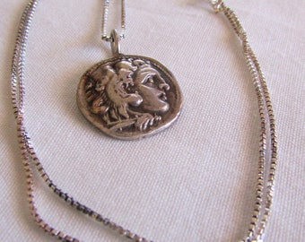 """Sterling Silver Roman Face Pendant and 16"""" Sterling Chain"""