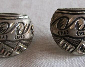 Diamond Cut Sterling Silver Pottery Design Post Earrings