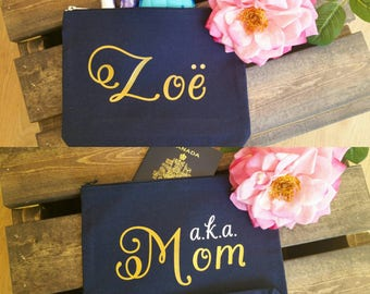 Personalized storage canvas bag. Aka mom. Pick your text. Navy or black bag. Makeup, travel, bridal party gift.