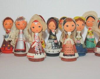 Yugoslavian Dolls Folk Art Carved Wood Hand Painted Set of 11 Ladies Yugoslavia Slovenia Christmas Decor