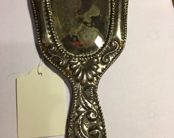 Silver mounted hand mirror